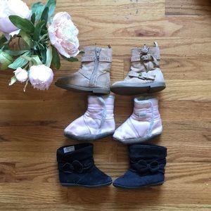 3 toddler boots: pink, brown, black